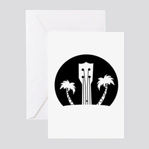 Ukelele and Palm Trees in Black and Greeting Cards