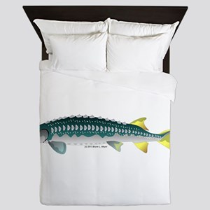 White Sturgeon fish Queen Duvet
