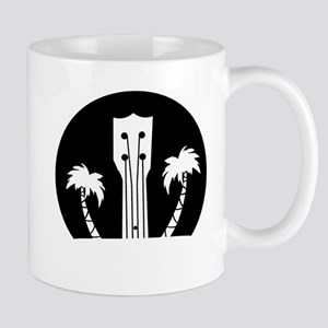 Ukelele and Palm Trees in Black and White Mugs