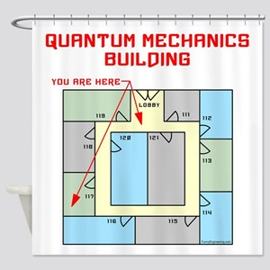 Quantum Mechanics Building Shower Curtain