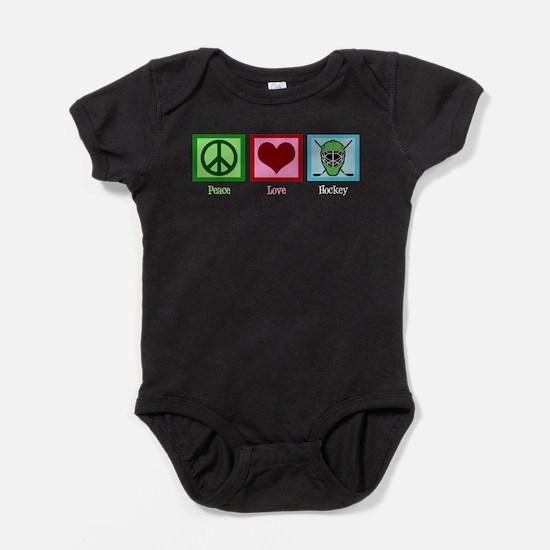 Peace Love Hockey Baby Bodysuit