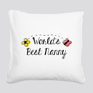 World's Best Nanny Square Canvas Pillow