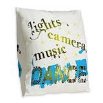 Lights Camera Music Dance Burlap Throw Pillow