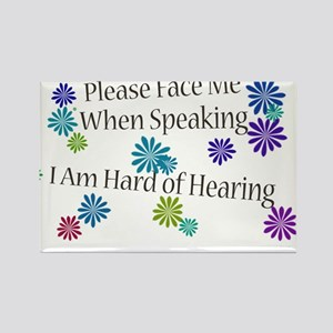 Hard of Hearing Flowers Rectangle Magnet