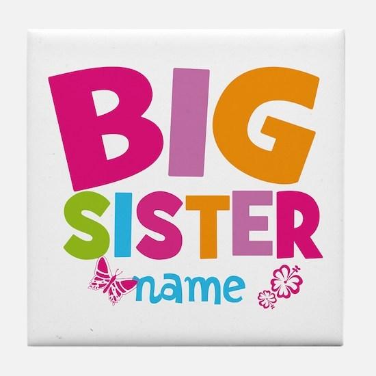 Personalized Name - Big Sister Tile Coaster