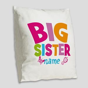 Personalized Name - Big Sister Burlap Throw Pillow