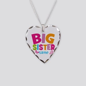 Personalized Name - Big Sister Necklace Heart Char