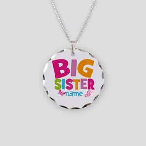 Personalized Name - Big Sister Necklace Circle Cha