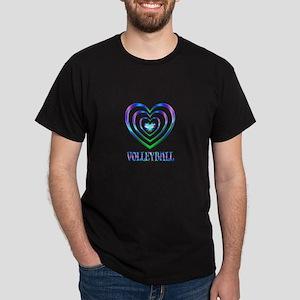Volleyball Hearts Dark T-Shirt