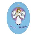 Happy Holidays ILY Angel Oval Ornament