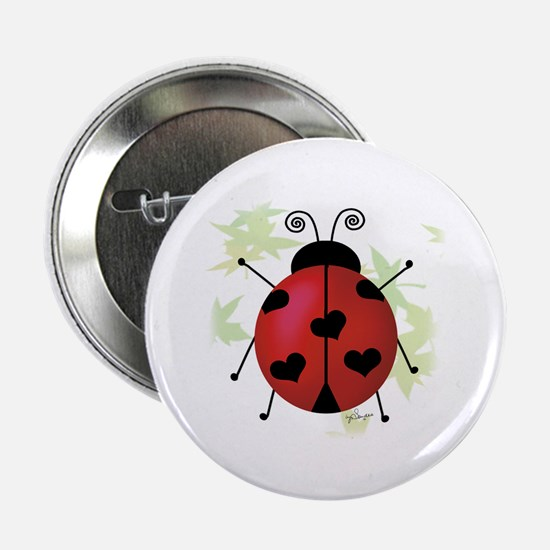 Heart Ladybug Button