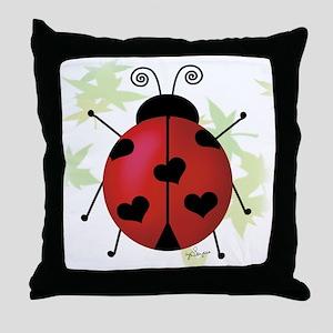 Heart Ladybug Throw Pillow
