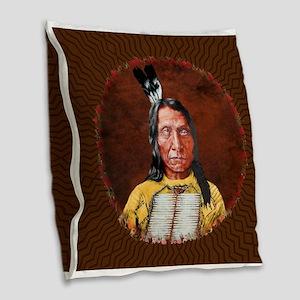 Red Cloud Burlap Throw Pillow