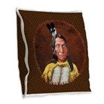 Red Cloud Burlap Throw Pillow