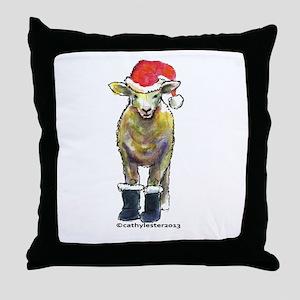 Santa Sheep Throw Pillow