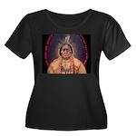 Sitting Women's Plus Size Scoop Neck Dark T-Shirt