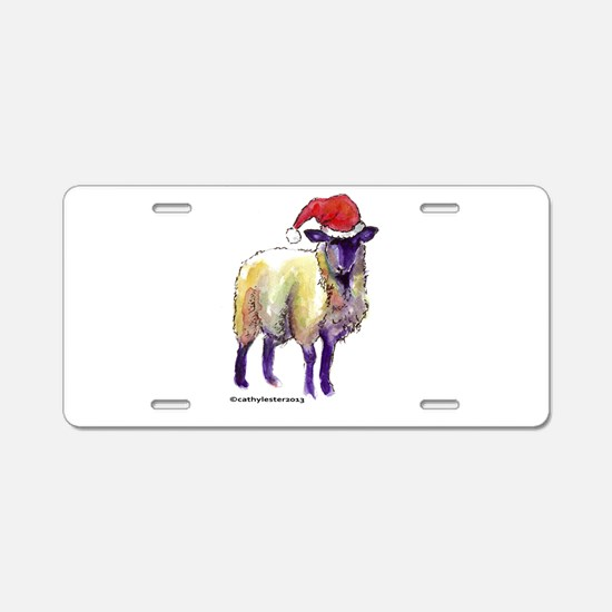 Sheep Holiday Aluminum License Plate