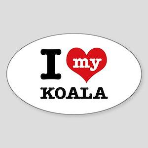 I heart Koala designs Sticker (Oval)