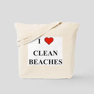 I Love Clean Beaches Tote Bag