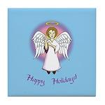 Happy Holidays ILY Angel Tile Coaster
