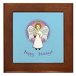 Happy Holidays ILY Angel Framed Tile