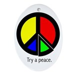Try a peace Oval Ornament