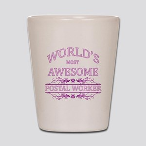 World's Most Awesome Postal Worker Shot Glass
