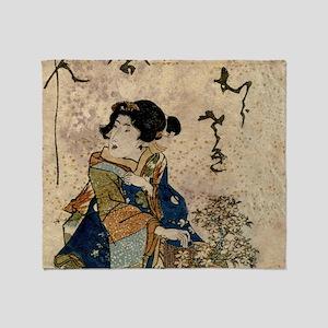 Vintage Japanese Art Woman Throw Blanket