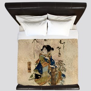 Vintage Japanese Art Woman King Duvet