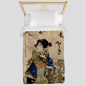 Vintage Japanese Art Woman Twin Duvet