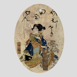 Vintage Japanese Art Woman Ornament (Oval)