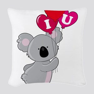 koala heart balloons cp Woven Throw Pillow