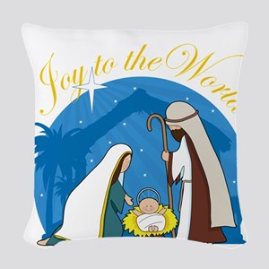 nativity scene cp Woven Throw Pillow