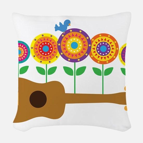 Ukulele Flowers Woven Throw Pillow