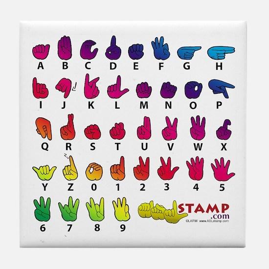 Rainbow Fingerspelled ABC Tile Coaster