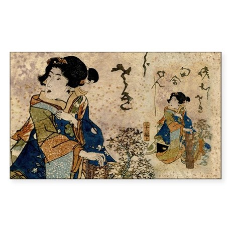 Vintage Japanese Art Woman Sticker (Rectangle)