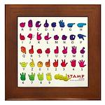Rainbow Fingerspelled ABC Framed Tile