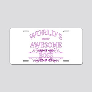 World's Most Awesome Boss Aluminum License Plate