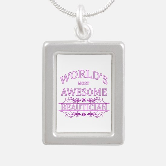 World's Most Awesome Beautician Silver Portrait Ne