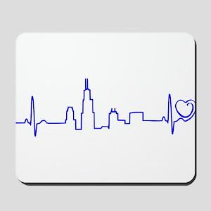 Chicago Heartbeat (Heart) BLUE Mousepad