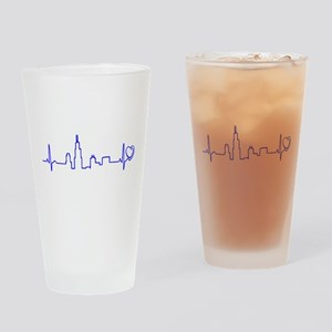 Chicago Heartbeat (Heart) BLUE Drinking Glass