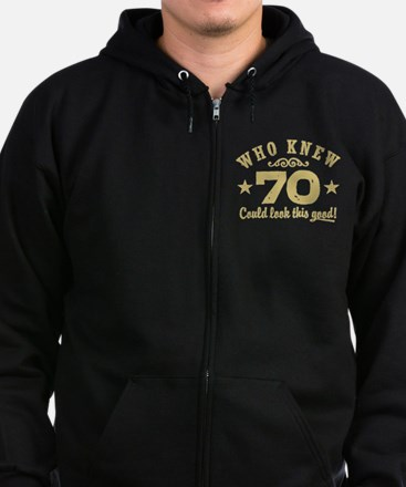 Funny 70th Birthday Zip Hoodie (dark)