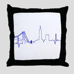 San Francisco Heartbeat BLUE Throw Pillow
