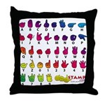 Rainbow Fingerspelled ABC Throw Pillow