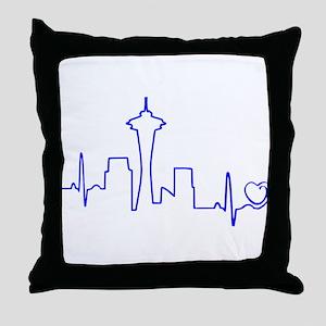 Seattle Heartbeat (Heart) BLUE Throw Pillow