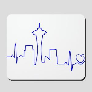 Seattle Heartbeat (Heart) BLUE Mousepad