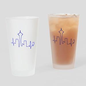 Seattle Heartbeat (Heart) BLUE Drinking Glass