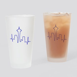 Seattle Heartbeat BLUE Drinking Glass