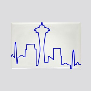 Seattle Heartbeat BLUE Rectangle Magnet