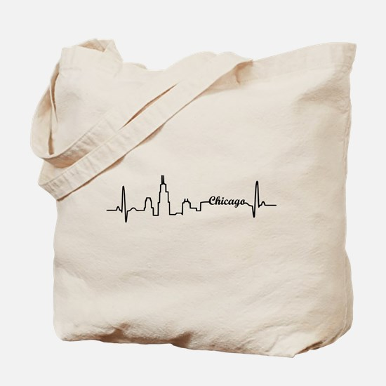 Chicago Heartbeat Letters Tote Bag